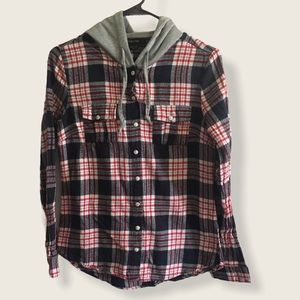 Paper Tee hooded flannel pearl snap shirt
